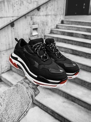 Man's Sneakers black red white OZONEE O/55375