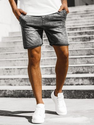 Men's Denim Shorts Black OZONEE JS/KK106