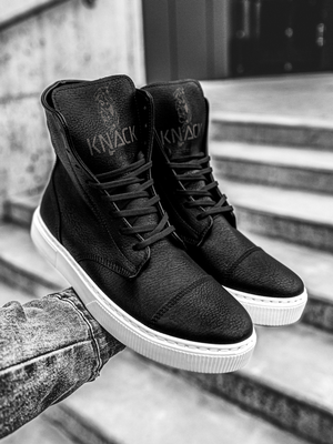 Men's high-top Sneakers Black-White OZONEE KN/022