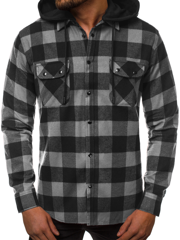 OZONEE O/T500 Men's Shirt - Black-Grey
