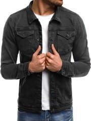 OZONEE OT/2021 Men's Denim Jacket - Dark grey