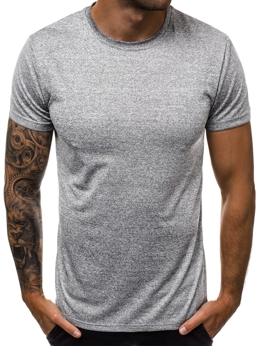 T-Shirt Kurzarm Basic Rundhals Unifarben Casual Slim Fit OZONEE JS//S01Z Herren