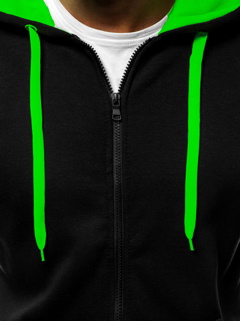 Men's Hoodie - Black-Green OZONEE JS/2013Z