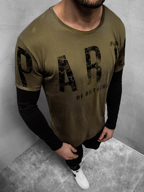 Men's Long Sleeve T-Shirt - Green OZONEE O/1292Z