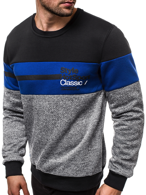 Men's Sweatshirt - Blue-Dark grey OZONEE JS/DD758