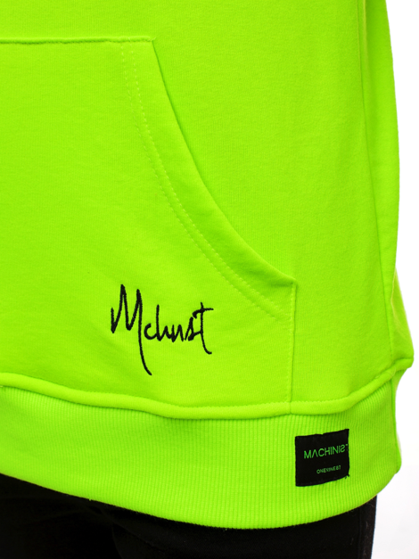 Men's Sweatshirt - green neon OZONEE MACH/3105