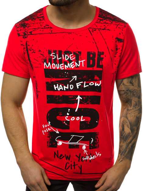 Men's T-Shirt - Red OZONEE JS/KS1983
