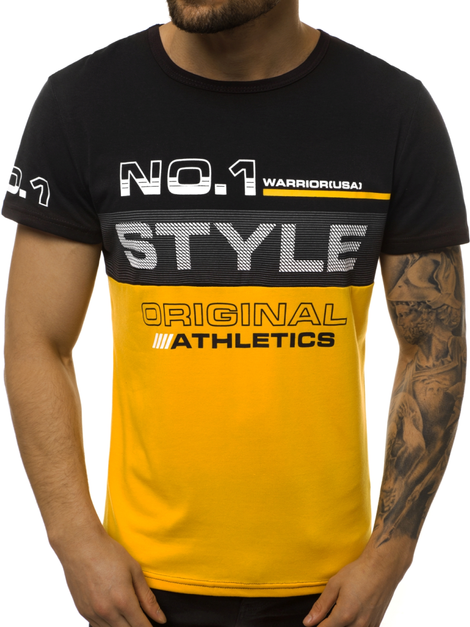 Men's T-Shirt - black-yellow OZONEE JS/SS10900