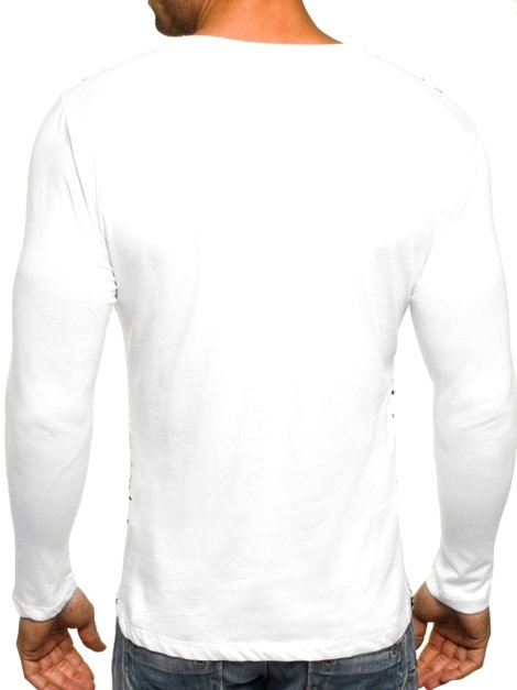 OZONEE 9108 Men's Long Sleeve T-Shirt - White