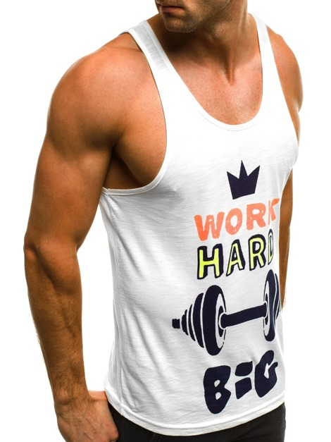 OZONEE B/171311 Men's Tank Top - White