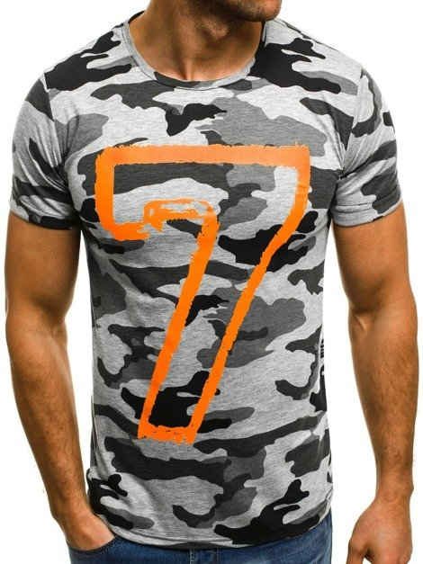 OZONEE MECH/2064 Men's T-Shirt - Camo-Grey